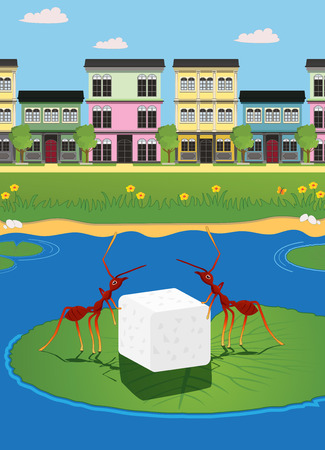 Ants carrying sugar with the city as a backdrop. Vector