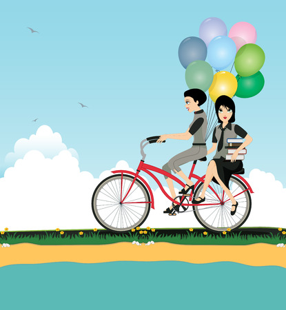 promenade: She was riding with a friend holding balloons and books.