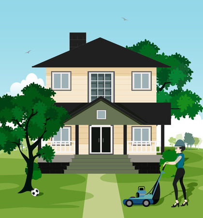 mowers: Woman working at home with lawn mowers. Illustration