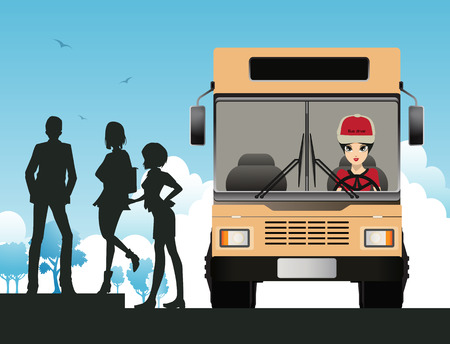 Bus Driver woman with a background of the sky. Vector