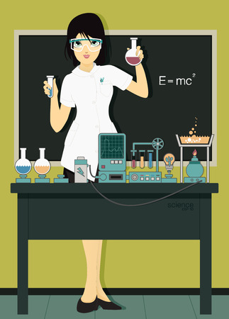 female scientist: Woman scientist in laboratory with test tubes. Illustration