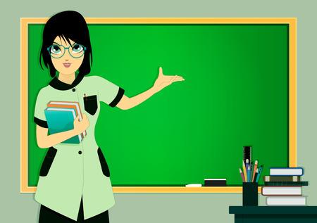Teacher in class with a blackboard in the background.