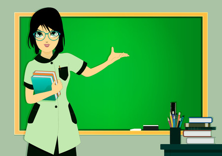 Teacher in class with a blackboard in the background. Vector
