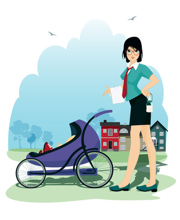 Mother and child in the stroller with the city as a backdrop. Vector