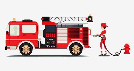 A woman firefighter with a fire truck with a white background. Vector