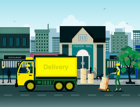 transporting: Delivery personnel were transporting a city as a backdrop.