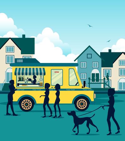 도시의 배경에 음식 트럭.
