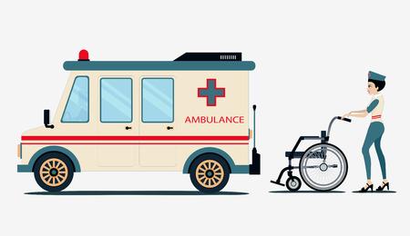 ems: Enfermeros de ambulancia son pacientes en silla de ruedas de un fondo blanco.