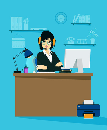virtual assistant: Female employees working an online business Illustration