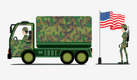 defeat: Military truck with a flag and a superb military defeat guns. Illustration