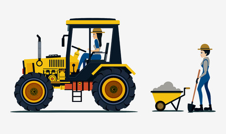 peasant woman: Farmer with a tractor with a white background.