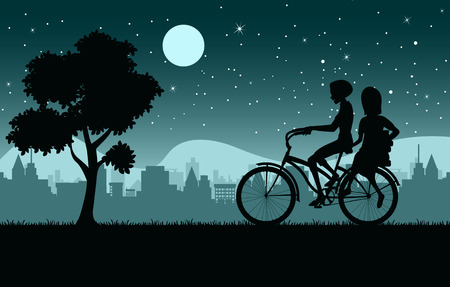 Woman riding bicycle with night city as a backdrop. Illustration