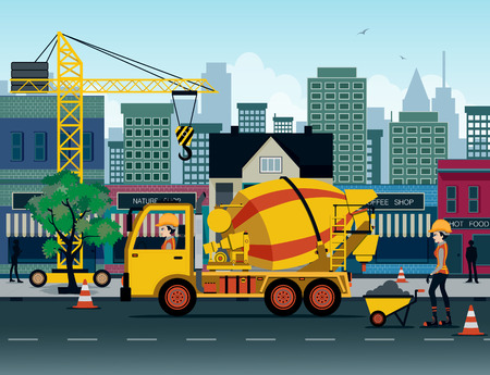 heavy construction: Cement truck with the city as a backdrop. Illustration