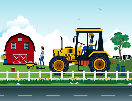 lady cow: Farmers are driving a tractor on the farm. Illustration