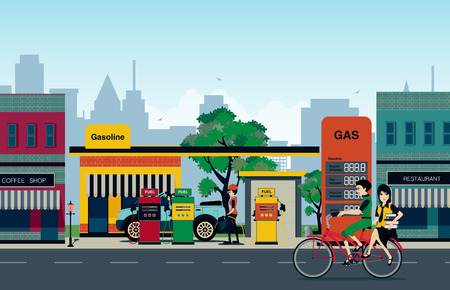 bicycle pump: The gas station that employs refueling in the city. Illustration