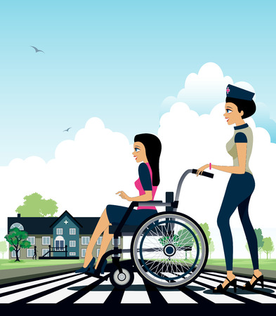 Wheelchair at a hospital as a backdrop. Vector