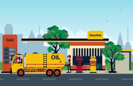 The gas station that employs refueling and trucks. Illustration