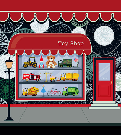 shelf: Toy shop fronts along the city streets.