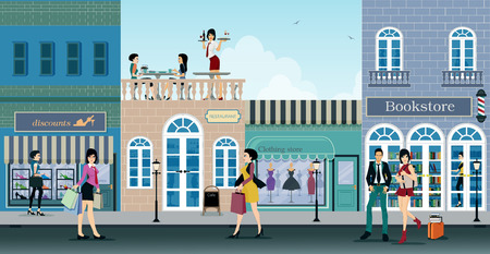 retail scene: The city is a shopping center where people choose to shop.