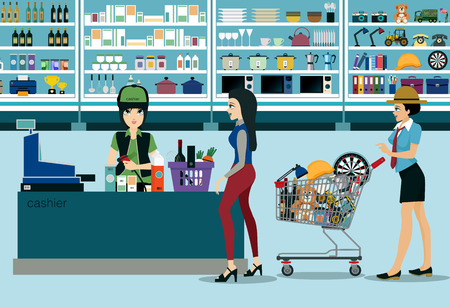 register: Women spend money shopping in the supermarket. Illustration