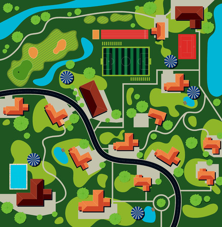 aerial: Plan of the city the stadium and home.