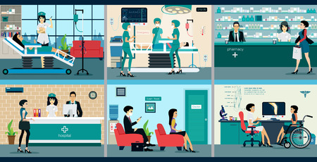 Medical services with doctors and patients in hospitals. Ilustracja