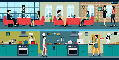 레스토랑은 식당과 주방이 있습니다.
