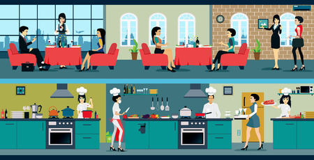 restaurante: O restaurante tem uma sala de jantar e cozinha. Ilustração