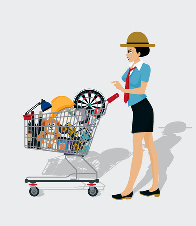 woman shopping cart: Woman shopping cart with shadow and white background. Illustration