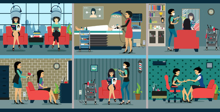 nail salon: Image inside salon with female customers come to the beauty. Illustration