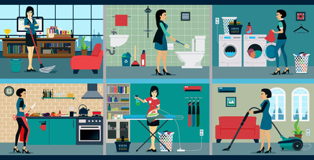 The work of a housewife who has a different background. Vector