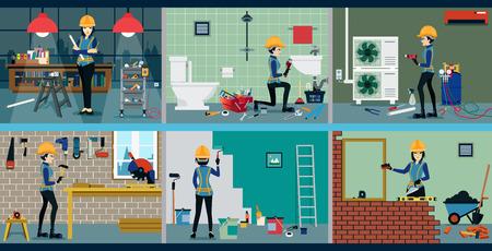 Women technicians repair work Partitioned each type