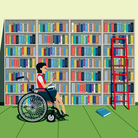 여성 장애인과 도서관의 책장. 일러스트