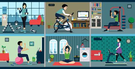 tập thể dục Người phụ nữ với máy tập thể dục tại nhà. Hình minh hoạ