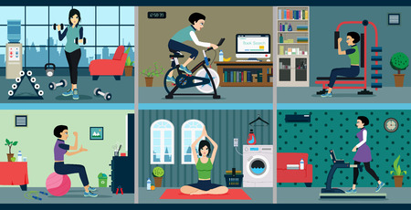 stretching exercise: Woman exercise with exercise machines at home.