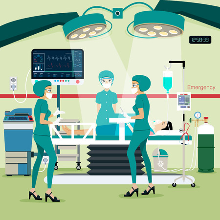 operations: Team doctors in the operating room with the patient. Illustration
