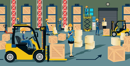 forklift: The storage warehouse worker and a forklift.