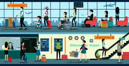 Vliegticket kantoor in de luchthaven met het publiek om de service te gebruiken.