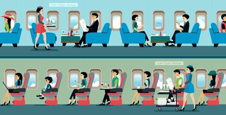 Un avion de passagers avec le service des agents de bord. Vecteurs