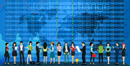 investors: Team and investors with stock exchange as a backdrop. Illustration