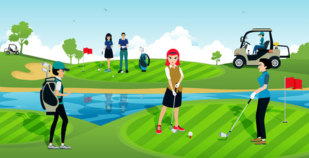 sports field: The golf tournament with athletes in the sport. Illustration