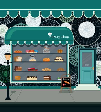 상점 빵집에서 빵 제품. 일러스트