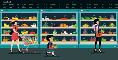 grocery shelves: Fresh vegetables and fruits are sold in supermarkets.