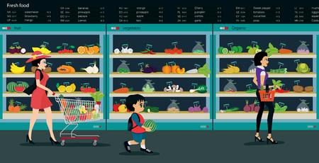 mujer en el supermercado: Las verduras frescas y frutas se venden en los supermercados.
