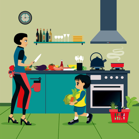 Mother and son are helping to cook in the kitchen