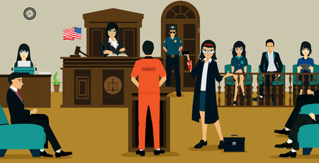 accused: Female lawyers are questioning the accused with justice. Illustration