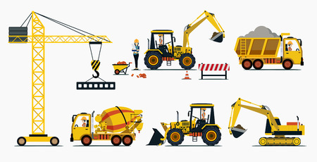 construction equipment: Vehicle construction and equipment used in construction. Illustration