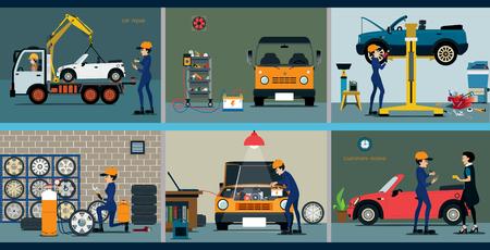 Service center naar de automonteur reparatie van een auto te repareren. Stock Illustratie