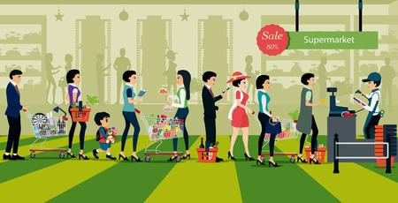 Ludzie w kolejce do zapłaty za zakupy w supermarketach. Ilustracje wektorowe