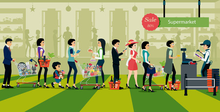 on line shopping: People line up to pay for shopping in supermarkets. Illustration